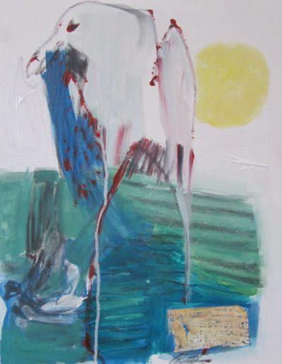 """Seagull-BlueBag, acrylic on canvas, 16"""" X 20"""""""