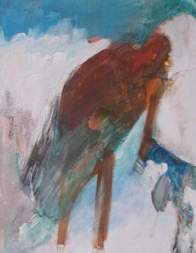 """Feeding-Fledgling, acrylic on canvas, 16"""" X 20"""""""