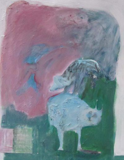 "Birds Fighting, acrylic on canvas, 16"" X 20"""
