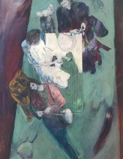 "Gypsies with Monkey, Acrylic on Canvas, 36"" X 54"" X .5"""