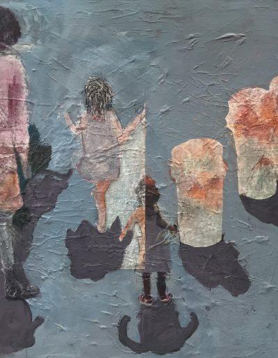 """Family on the Beach, Acrylic on Canvas, 36"""" X 54"""" X .5"""""""