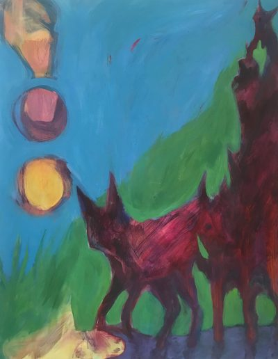 """Fox Divination Marks By the River, Acrylic on Canvas-48"""" X 54"""" X 1.5"""""""