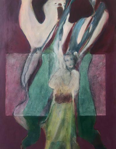 """Bear with Leaha-Acrylic on Canvas 48"""" X 60"""""""