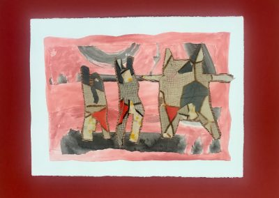 """Moloka'i Dancers 1/3, Triptych on paper with marking materials, 22"""" X 30"""""""