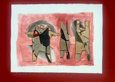 Moloka'i Dancers 3/3, Triptych on paper with marking materials
