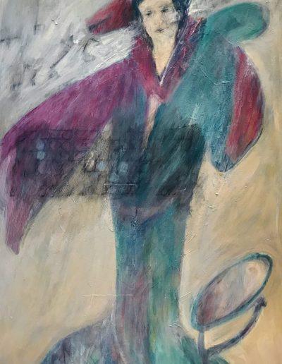 Spirit Fox Around Neck, acrylic on canvas