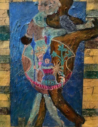 Alchemic Tango, mixed media on wood panel